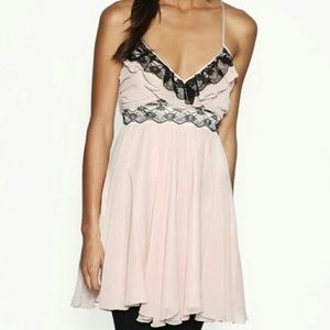 Lipsy London pale pink dress with black lace NEW